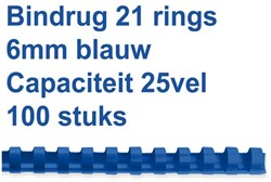 BINDRUG FELLOWES 6MM 21RINGS A4 BLAUW 100 Stuk