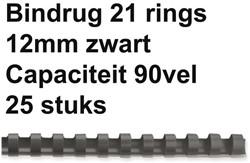 BINDRUG FELLOWES 12MM 21RINGS A4 ZWART 25 Stuk