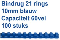 BINDRUG FELLOWES 10MM 21RINGS A4 BLAUW 100 Stuk