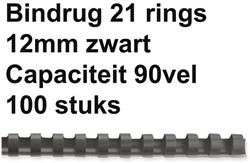BINDRUG GBC 12MM 21RINGS A4 ZWART 100 Stuk