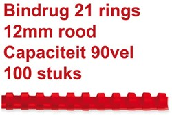 BINDRUG GBC 12MM 21RINGS A4 ROOD 100 Stuk