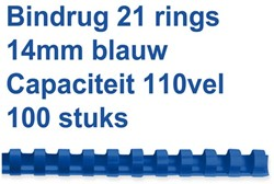 BINDRUG FELLOWES 14MM 21RINGS A4 BLAUW 100 Stuk