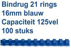 BINDRUG FELLOWES 16MM 21RINGS A4 BLAUW 100 Stuk