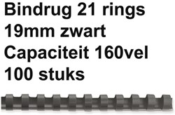 BINDRUG FELLOWES 19MM 21RINGS A4 ZWART 100 Stuk