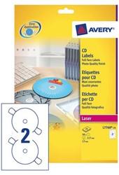 ETIKET AVERY CD L7760-25 LASER HOOGGLANS 50ST 25 Vel