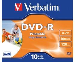 DVD-R VERBATIM 4.7GB 16X PRINTABLE 10PK JC 1 Stuk