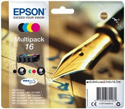 INKCARTRIDGE EPSON 16 T1626 ZWART + 3 KLEUREN 4 Stuk