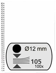 DRAADRUG FELLOWES 12MM 34RINGS A4 ZWART 100 Stuk
