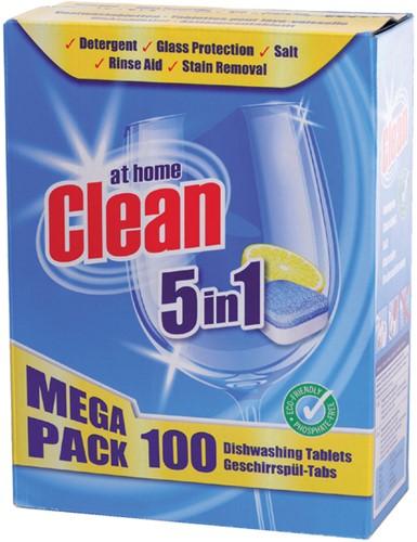 VAATWASTABLET AT HOME CLEAN 5-IN-1 100 STUKS 100 Stuk