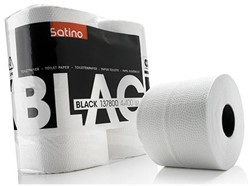 TOILETPAPIER SATINO BLACK 2-LAAGS 400V WIT 4 Stuk