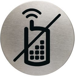 INFOBORD PICTOGRAM DURABLE GSM VERBODEN ROND 83MM 1 Stuk