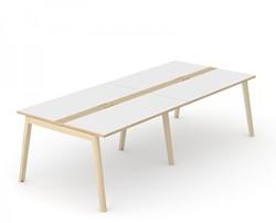 Vergadertafel Nova Wood Met Kabel Doorvoer - Houten Frame