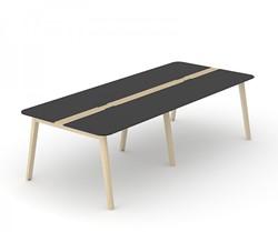 Vergadertafel Nova Wood HPL Met Kabel Doorvoer - Houten Frame