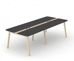 Vergadertafel Nova Wood HPL Met Stopcontacten - Houten Frame