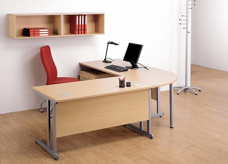 Aanbouw t b v optima bureau rond poot p berken wit