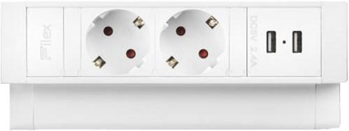 Opbouw stekkerdoos Power Desk UP2.0 2x230V 2xUSB (wit)